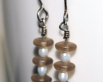 Freshwater Pearl and Beige Frosted Czech Glass Dangle Earrings - On Sale 50% Off