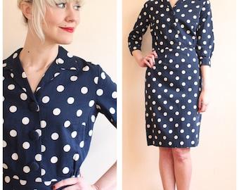 1950s Dress // Polka Dot Sheath Dress // vintage 50s dress