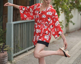 Red color is now SOLD OUT available in other colors,tailored made,Kimono Dress, Kimono Top, Japanese Kimono,Kimono Fabric