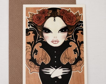Postcard; reproductions of my illustration Victoria, with envelope