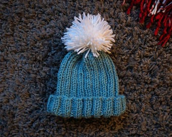 Turquoise Knitted Baby Hat with White Pom Pom / Baby Beanie / Knit Baby Hat / Baby Hat With Pom Pom / Baby Beanie