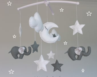 SALE!!! Grey and white elephant cloud and star musical mobile baby cot mobile grey white nursery decor elephant mobile star mobile