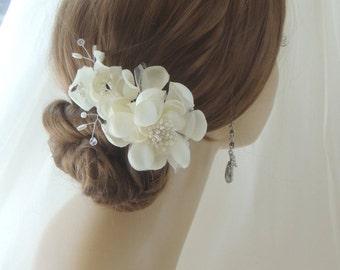 Silk Bridal Headpiece, Bridal Hair Flower Comb,Wedding Hairpiece Wedding Flower Hair Comb, Bridal Hair Accessory, Wedding Hair Accessories
