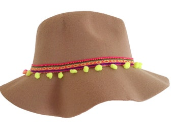 Beige and Black Festival bohemian tribal aztec fedora hat with neon pompoms