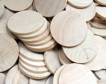 10 Round Circle Wood Disc - 1.5 Inch - Woodworking Wooden Cut Outs Craft Supplies
