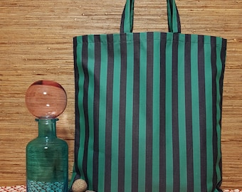 Unique One of a Kind Green and Black Striped Tote Bag, Shopping Bag, Grocery Bag