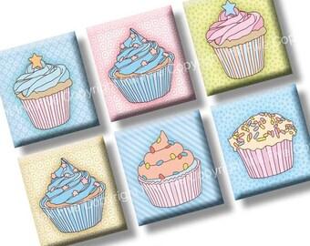 Cupcakes scrabble tile images 0.75x0.83 inch squares. Sweets collage sheet for scrabble pendants. Digital download. Pastel printables