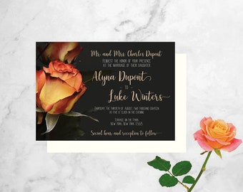 Rose Wedding Invitation - Summer Wedding Invitation - Floral Wedding Shower Invitation - Rose Wedding Invite - Gray Wedding Invitation