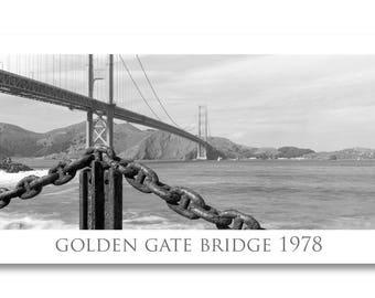 Golden Gate Bridge photo/san francisco photo/golden gate bridge print/san francisco art/black and white/vintage golden gate print/fort point