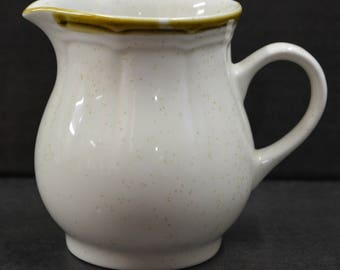 Vintage Crown Manor Hand Painted Stoneware Creamer - tan speckle with brown trim