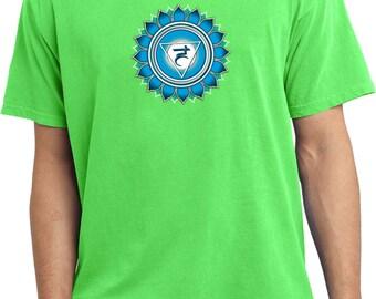 Yoga Clothing For You Mens Shirt Blue Vishuddha Pigment Dyed Tee T-Shirt = PC099-BLVISH