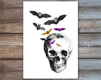 housewares - skull with bats - skull art, bat decor - fine art print 8x10