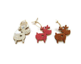Reindeer christmas tree decorations, glitter reindeer decorations, unusual christmas decor, wooden tree toppers, reindeers with hearts