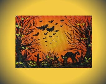 halloween gift tags halloween aceo art card unique gift for son halloween pumpkin daughter gift halloween charm miniature art cards