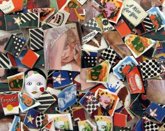 Mosaic Tiles Fun Mix of Patterns Faces Polka Dots Marilyn Stars 3D Cabochon Face