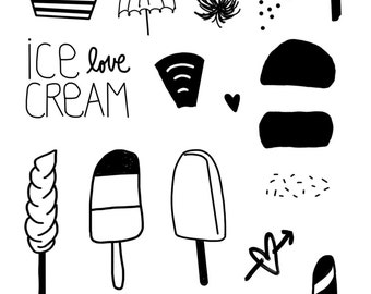 clear photopolymer stamp ice cream love set A6 size 21 designs