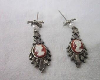 Vintage Victorian Style Cameo Dangle Pierced Earrings