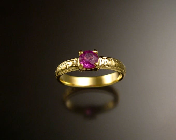 Pink Sapphire 14k Green Gold Victorian floral pattern wedding ring Pink Diamond substitute engagemen ring