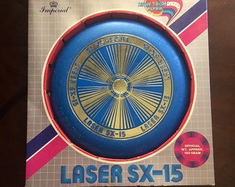 Vintage 1985  Imperial Laser SX-15 Flying Disc High Tech Flyer USA Bright Blue and Gold- Vintage Imperial Toy Corporation Frisbee
