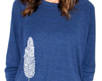 Womens Long Sleeve Sweatshirt - Feather - American Apparel Raglan Pullover - Small, Medium, Large