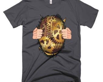Steampunk Shirt | Steampunk Gift | Steampunk Gears Shirt | Ripped Chest Shirt | Gears Shirt | Steampunk T-Shirt | Clockwork Shirt