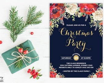 Christmas Invitation. Christmas Party Invitation. Holiday Party Invite. Red and White Floral Blooms. Rustic Christmas Printable Invite XMAS3