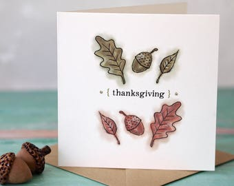 Thanksgiving Watercolour Card Acorns Oak Leaf illustration Thankful Gratitude FREE UK P&P