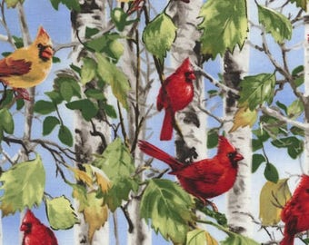 Cardinals on Birch Tree Branches Fabric, Cardinals on Birch Trees, Cardinals Yardage / Timeless Treasures c5348 / Yardage & Fat Quarters