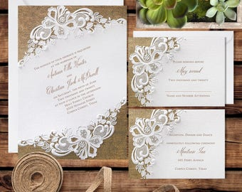 Rustic Wedding Printed Invitations, Printed Wedding Invitations Set, Rustic Invitation Set, Rustic Invitation Suite, Battenburg Lace Burlap