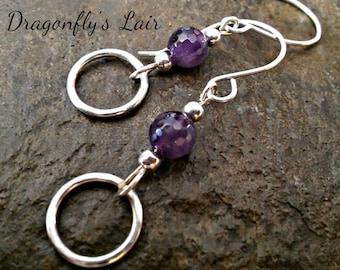 Amethyst and Sterling Silver February Birthstone Earrings