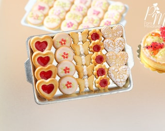 MTO-Presentation of Red-Themed Butter Cookies - Miniature Food in 12th Scale for Dollhouse
