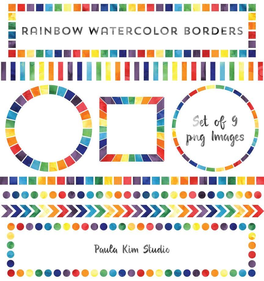 Watercolor Rainbow Borders Rainbow Frame Clip Art Set