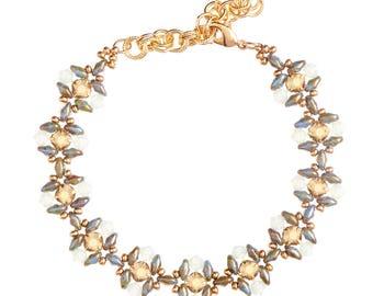 Bracelet Kit Rose Montee Flora Dance with Swarovski® Crystals - Green and Gold