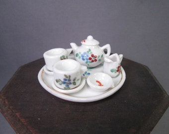 "Tiny  Porcelain Tea Set - Made in Germany - 1"" Dollhouse Size"