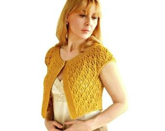 Dentelle de mariage Bolero miel moutarde Bella haussement d'épaules dentelle miel or jaune à la main tricot de laine XS S