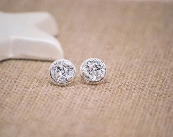 Silver Druzy Earrings, Druzy Stud Earrings, Large Druzy Earrings, Raw Crystal, Faux Druzy Earrings, Silver Stud Earrings, Faux Plugs, Drusy