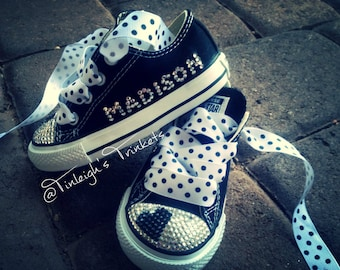 Crazy in Love Black Heart Personalized Toddler Rhinestone Converse Bling Shoes