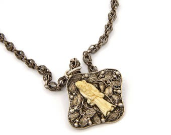 Good Luck Jewelry, Longevity Amulet, Antique 1900s Necklace, Chinese Export Jewelry, Sterling Filigree Floral Pendant, Byzantine Rolo Chain