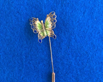 Vintage Enamel Vermeil Filigree Butterfly Stick Pin Lapel Pin Easter Mothers Day Spring