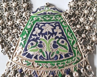 Vintage Amazing silver enameled necklace from India - Himachal Pradesh. tribalgallery.