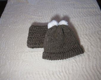 Clearance Item!  Brown Hat and cowl set with pom pom
