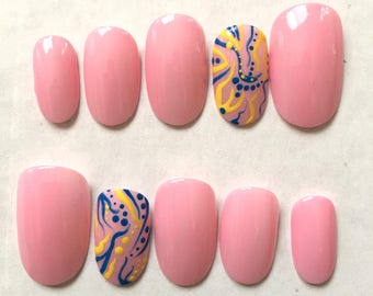 Pink Lemonade Artificial Nails
