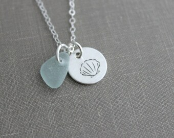 Sterling Silver  Seashell Necklace with genuine Sea Glass Hand Stamped Sterling Disc Tropical Ocean Satin Finish Simple Beach Necklace