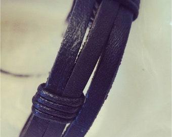 Mens black leather adjustable bracelet
