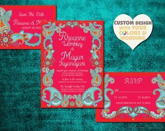 Mehndi Ceremony Cards : Paisley invitations etsy