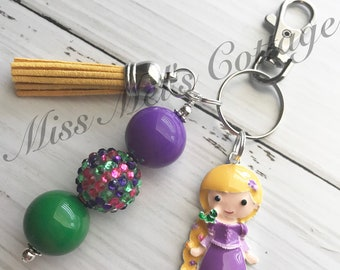 Princess Chunky Beads Keychain/Zipper Charm/Backpack/Purse/Planner Charm