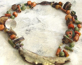 Wood sage necklace upcycled artist palette in autumn colors