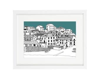 Port Isaac Print | Cornwall Print | Cornwall Illustration | Coastal Prints | Nautical Prints | Coastal Art | Architectural Print