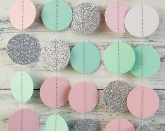 Silver glitter decor, Mint garland, Pink baby reveal, Mint photo backdrop, Silver wedding garland, New year garland, Christmas garland