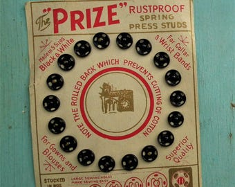 Antique snap fasteners on original card - The Prize Rustproof Spring Press Studs - vintage haberdashery -  Edwardian sewing notions